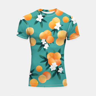 Thumbnail image of Orange Twist Flower Vibes #8 #tropical #fruit #decor #art Shortsleeve rashguard, Live Heroes