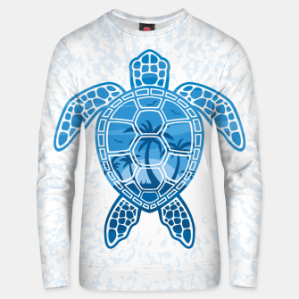 Miniatur Tropical Island Sea Turtle Design in Blue Unisex sweater, Live Heroes