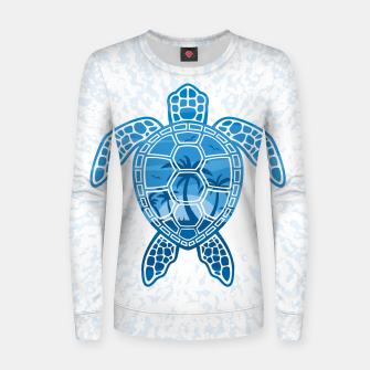 Tropical Island Sea Turtle Design in Blue Women sweater Bild der Miniatur