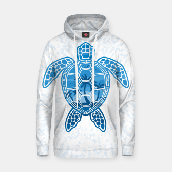 Miniatur Tropical Island Sea Turtle Design in Blue Hoodie, Live Heroes