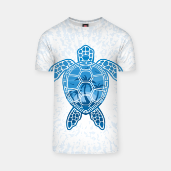 Miniatur Tropical Island Sea Turtle Design in Blue T-shirt, Live Heroes