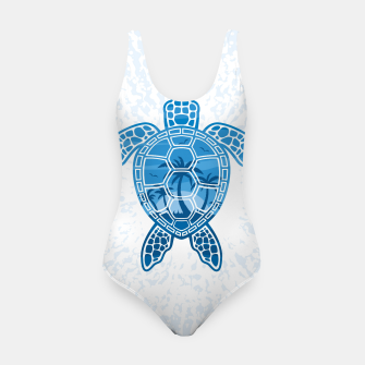Tropical Island Sea Turtle Design in Blue Swimsuit Bild der Miniatur