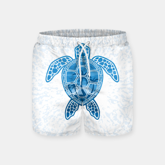 Miniatur Tropical Island Sea Turtle Design in Blue Swim Shorts, Live Heroes