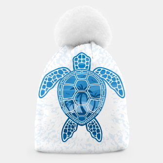 Miniatur Tropical Island Sea Turtle Design in Blue Beanie, Live Heroes