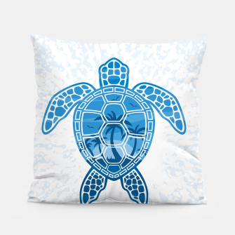 Miniatur Tropical Island Sea Turtle Design in Blue Pillow, Live Heroes
