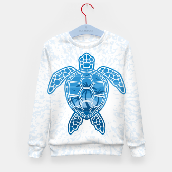 Tropical Island Sea Turtle Design in Blue Kid's sweater Bild der Miniatur