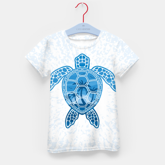 Tropical Island Sea Turtle Design in Blue Kid's t-shirt Bild der Miniatur