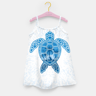 Miniatur Tropical Island Sea Turtle Design in Blue Girl's dress, Live Heroes