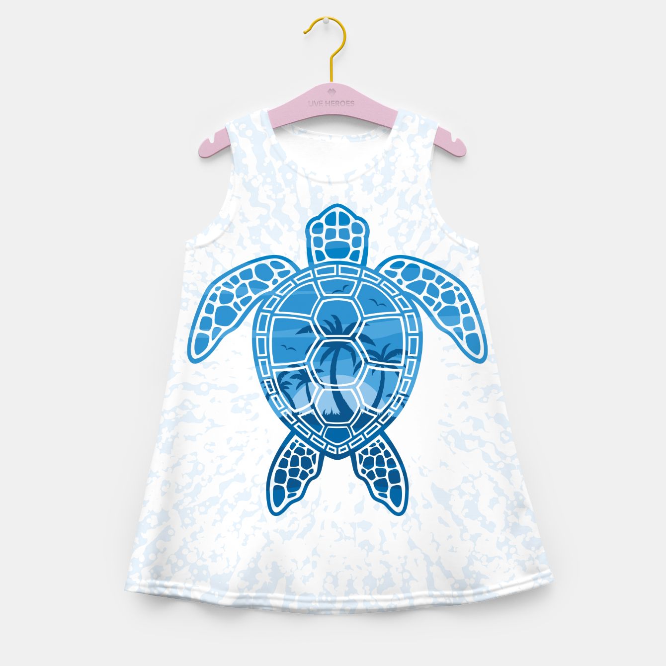 Foto Tropical Island Sea Turtle Design in Blue Girl's summer dress - Live Heroes