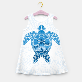 Miniatur Tropical Island Sea Turtle Design in Blue Girl's summer dress, Live Heroes