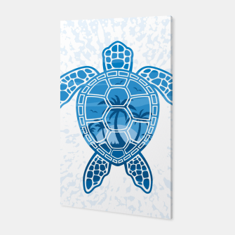 Miniatur Tropical Island Sea Turtle Design in Blue Canvas, Live Heroes