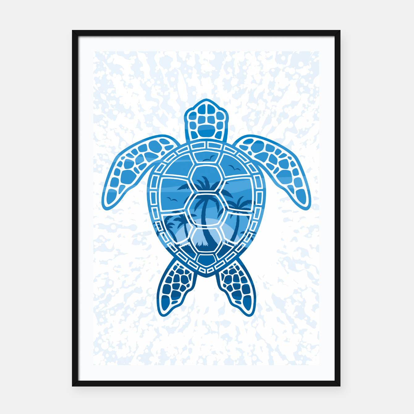 Foto Tropical Island Sea Turtle Design in Blue Framed poster - Live Heroes