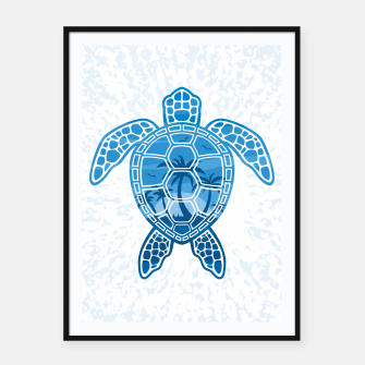 Tropical Island Sea Turtle Design in Blue Framed poster Bild der Miniatur