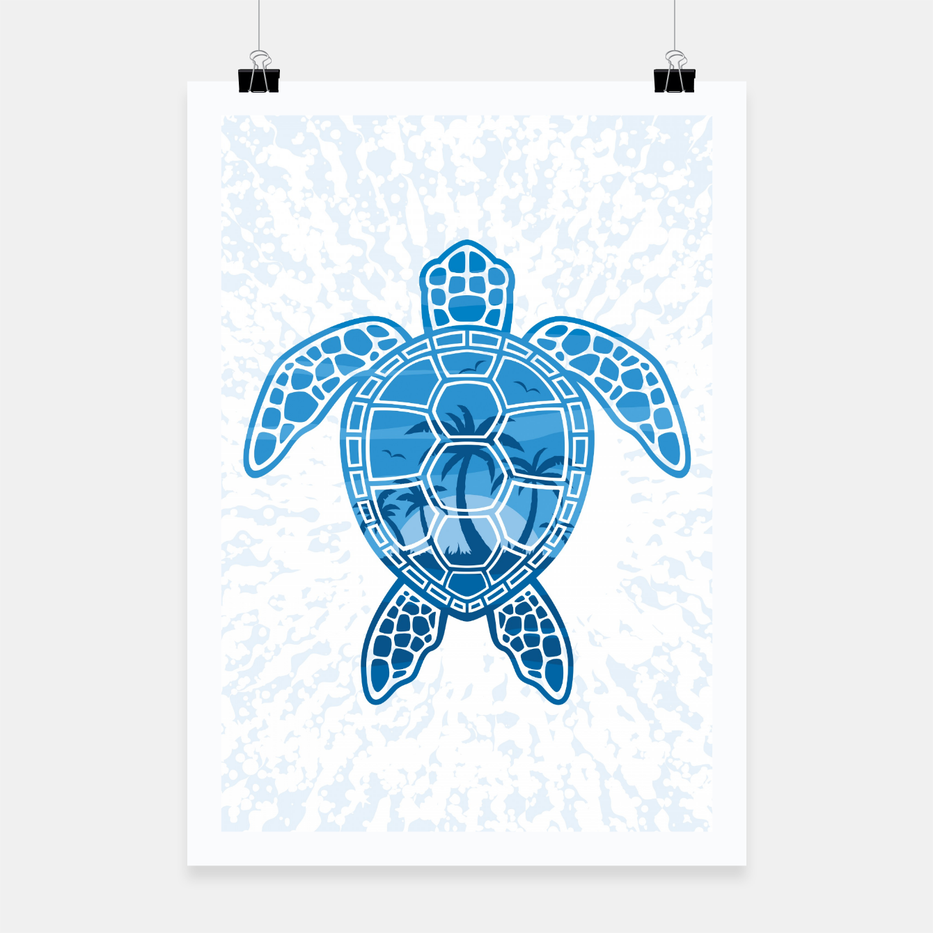 Foto Tropical Island Sea Turtle Design in Blue Poster - Live Heroes