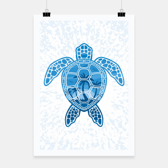 Miniatur Tropical Island Sea Turtle Design in Blue Poster, Live Heroes