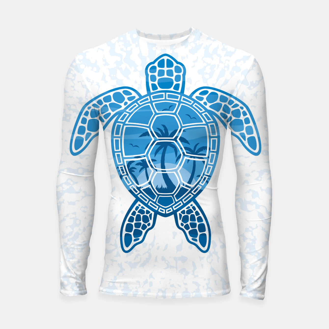 Foto Tropical Island Sea Turtle Design in Blue Longsleeve rashguard  - Live Heroes