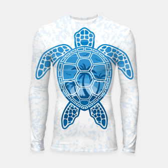Tropical Island Sea Turtle Design in Blue Longsleeve rashguard  Bild der Miniatur