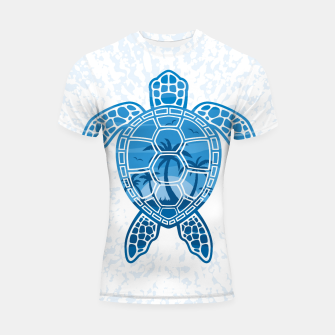 Miniatur Tropical Island Sea Turtle Design in Blue Shortsleeve rashguard, Live Heroes