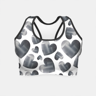 Miniatur An abundance of silver hearts on white Crop Top, Live Heroes
