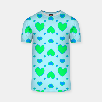Thumbnail image of Blue and green hearts on blue Camiseta, Live Heroes