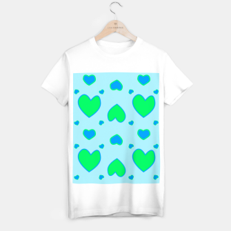 Thumbnail image of Blue and green hearts on blue Camiseta Regular, Live Heroes