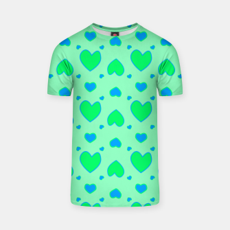 Thumbnail image of Blue and green hearts on green Camiseta, Live Heroes