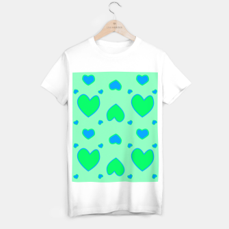 Thumbnail image of Blue and green hearts on green Camiseta Regular, Live Heroes