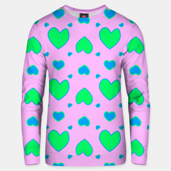 Blue and green hearts on pink Sudadera unisex miniature