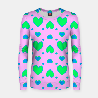 Blue and green hearts on pink Sudadera para mujeres miniature