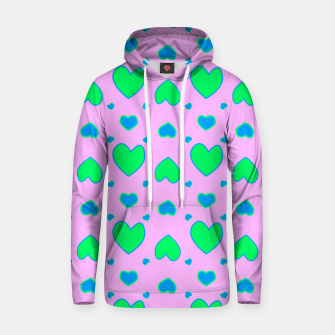 Blue and green hearts on pink Sudadera con capucha miniature