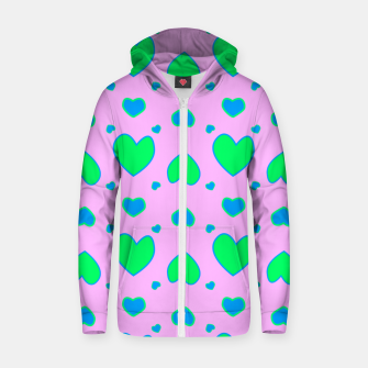Blue and green hearts on pink Sudadera con capucha y cremallera  miniature