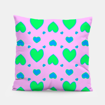 Blue and green hearts on pink Almohada miniature