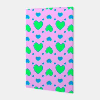 Blue and green hearts on pink Canvas miniature