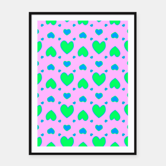 Blue and green hearts on pink Cartel con marco miniature