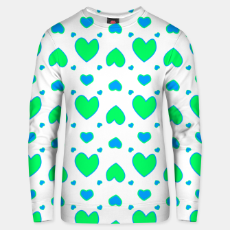 Thumbnail image of Blue and red hearts on white Sudadera unisex, Live Heroes