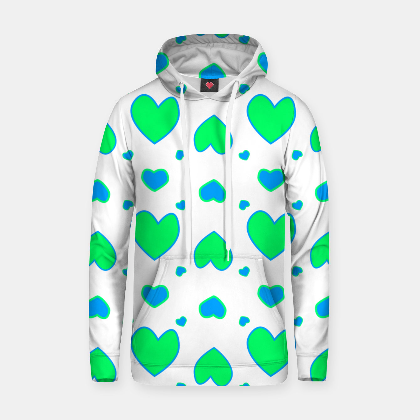 Image de Blue and red hearts on white Sudadera con capucha - Live Heroes