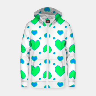 Thumbnail image of Blue and red hearts on white Sudadera con capucha y cremallera , Live Heroes