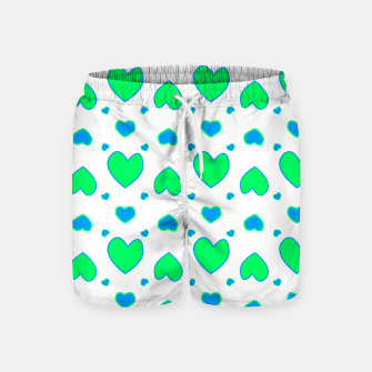 Blue and red hearts on white Pantalones de baño miniature