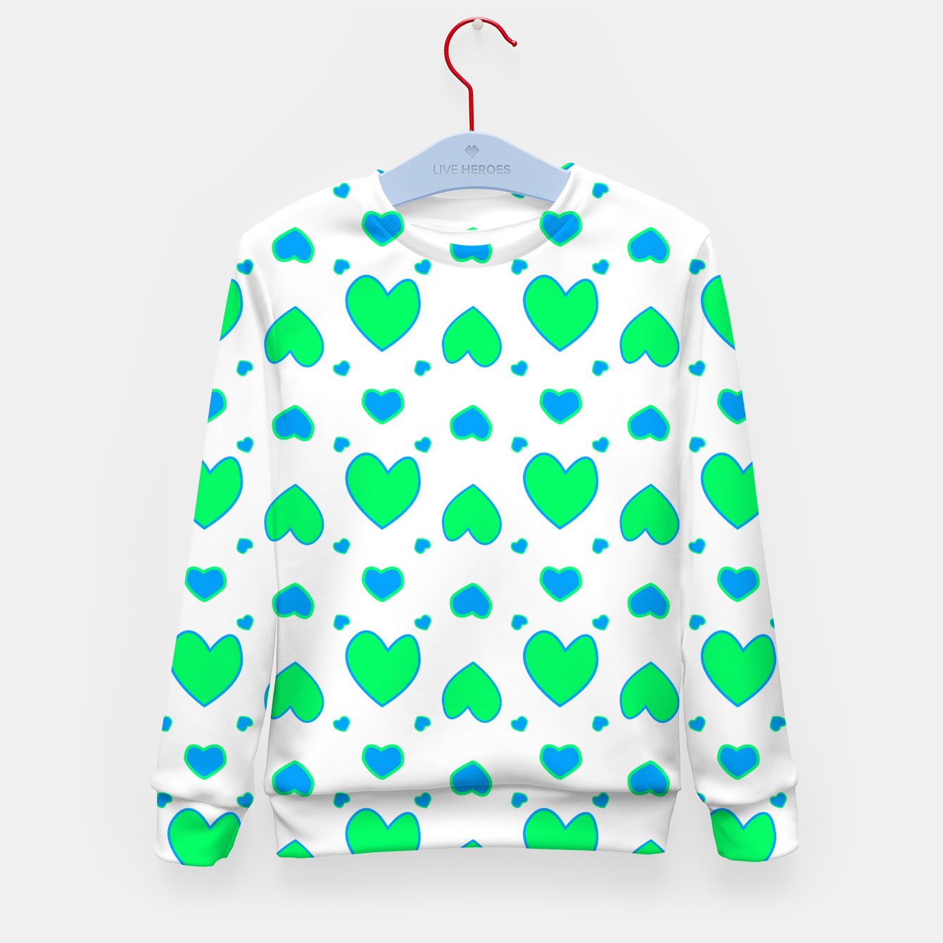 Image de Blue and red hearts on white Sudadera para niños - Live Heroes