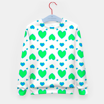 Blue and red hearts on white Sudadera para niños miniature
