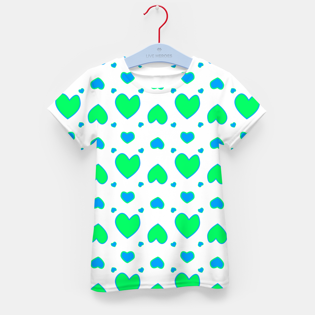Image de Blue and red hearts on white Camiseta para niños - Live Heroes
