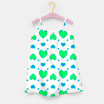Blue and red hearts on white Vestido para niñas miniature