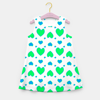 Blue and red hearts on white Vestido de verano para niñas miniature