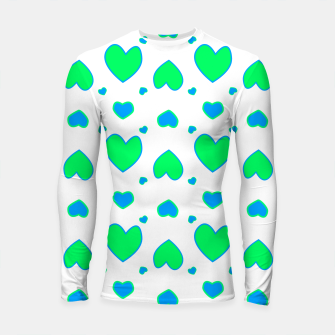 Thumbnail image of Blue and red hearts on white Longsleeve rashguard, Live Heroes