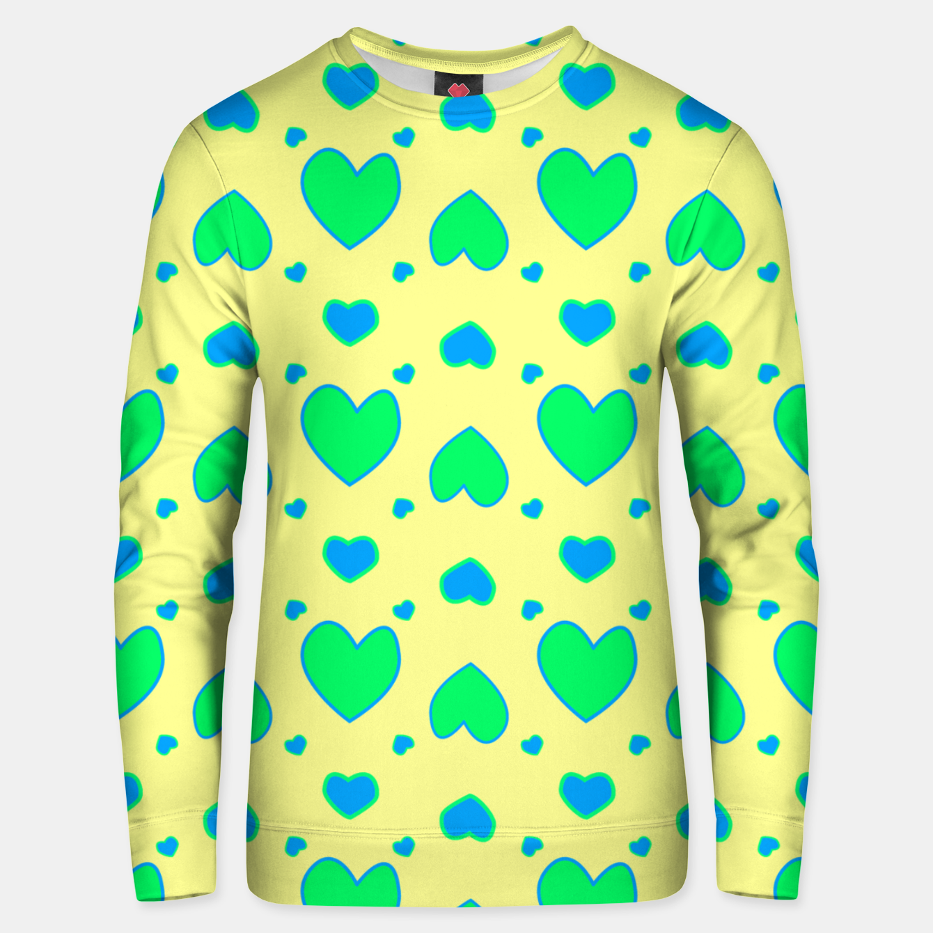 Image de Blue and green hearts on yellow Sudadera unisex - Live Heroes