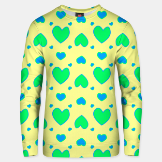 Thumbnail image of Blue and green hearts on yellow Sudadera unisex, Live Heroes