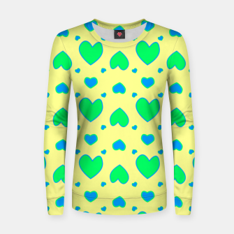 Thumbnail image of Blue and green hearts on yellow Sudadera para mujeres, Live Heroes