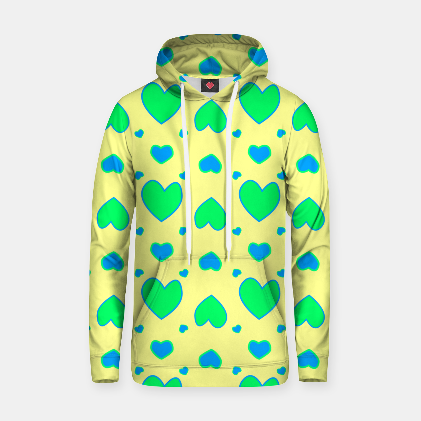 Image de Blue and green hearts on yellow Sudadera con capucha - Live Heroes