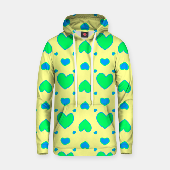 Blue and green hearts on yellow Sudadera con capucha miniature
