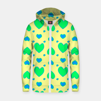 Thumbnail image of Blue and green hearts on yellow Sudadera con capucha y cremallera , Live Heroes